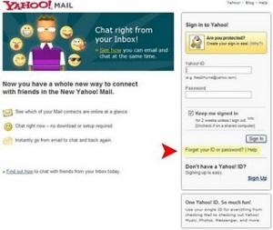 Yahoo Login Page