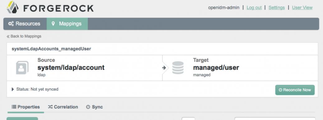 OpenIDM 3.1 Admin Interface